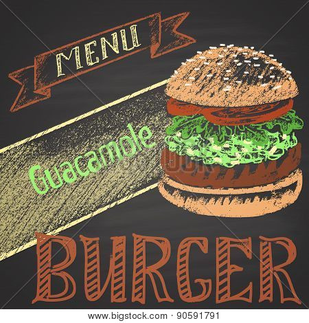 Colored chalk painted guacamole burger. Burger menu theme.