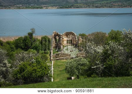 Ruins Of Church On Island Of St. Ahileos At Lake