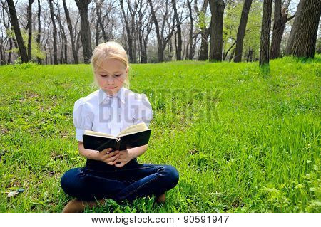 Little girl reading book in the  park