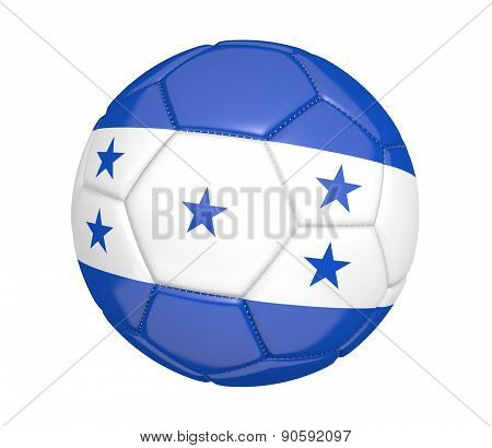 Soccer ball, or football, with the country flag of Honduras