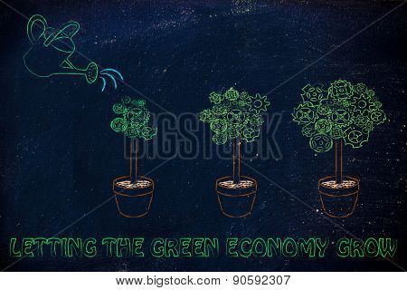 Watering Can Making A Gearwheel Tree Grow Bigger, Surreal Image About Green Economy