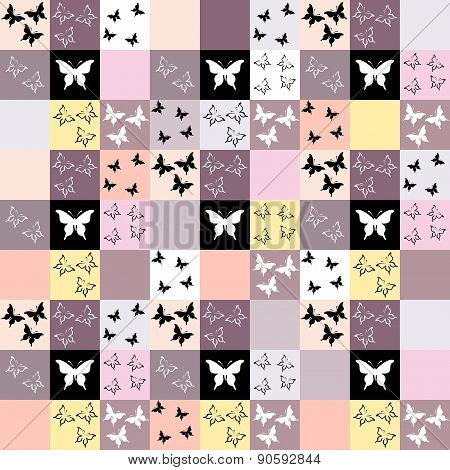 Seamless Mosaic Background With Butterfly Motif