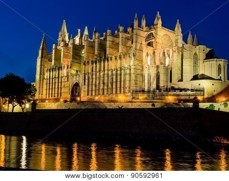 the la seu cathedral in the city of palma on mallora in spain