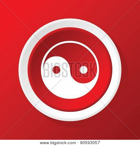 Ying yang icon on red
