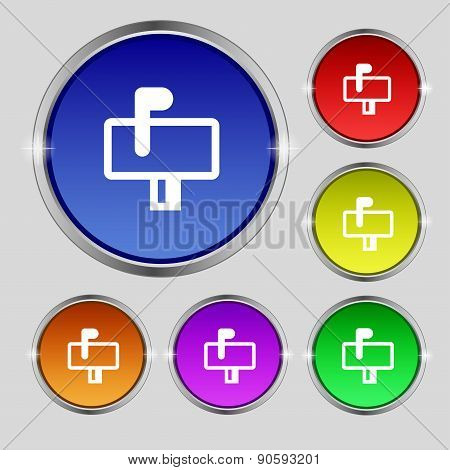 Mailbox Icon Sign. Round Symbol On Bright Colourful Buttons. Vector