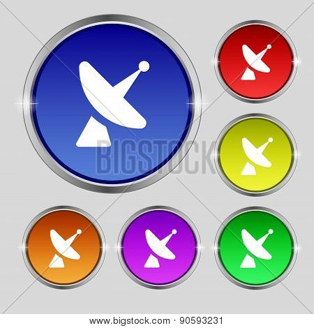 Satellite Dish Icon Sign. Round Symbol On Bright Colourful Buttons. Vector