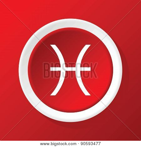 Pisces icon on red