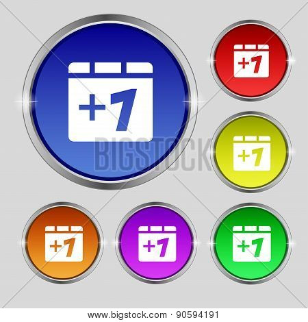 Plus One, Add One Icon Sign. Round Symbol On Bright Colourful Buttons. Vector