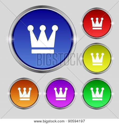 King, Crown Icon Sign. Round Symbol On Bright Colourful Buttons. Vector