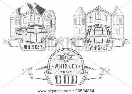 Vector Set Illustration And Badges Whiskey
