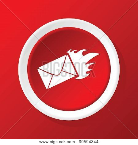 Burning envelope icon on red