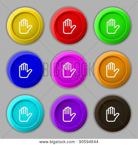 Hand Print, Stop Icon Sign. Symbol On Nine Round Colourful Buttons. Vector