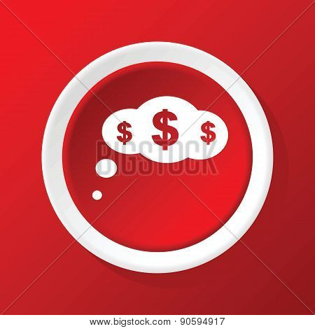 Money thinking icon on red