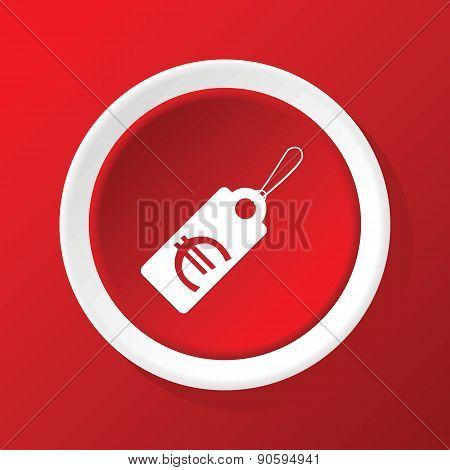 Euro price icon on red