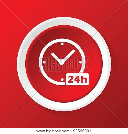 24h workhours icon on red