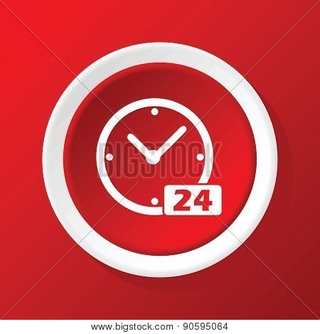 24 workhours icon on red