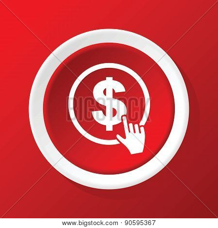 Dollar click icon on red