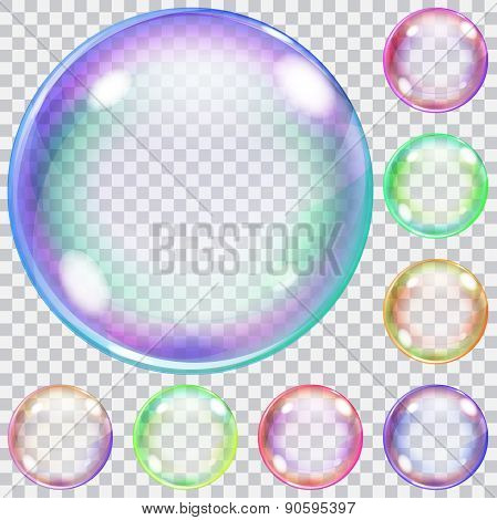 Set Of Colorful Transparent Soap Bubbles