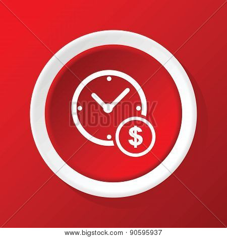 Time money icon on red