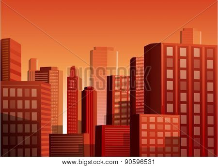 Cityscape at sunset vector illustration background
