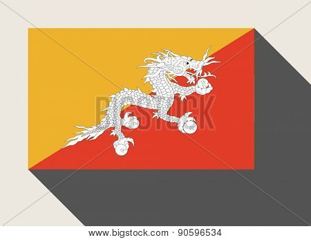 Bhutan flag in flat web design style.