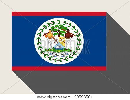 Belize flag in flat web design style.