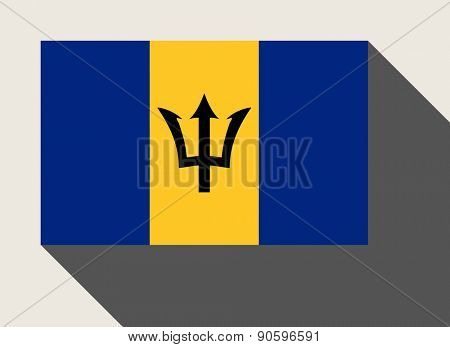 Barbados flag in flat web design style.