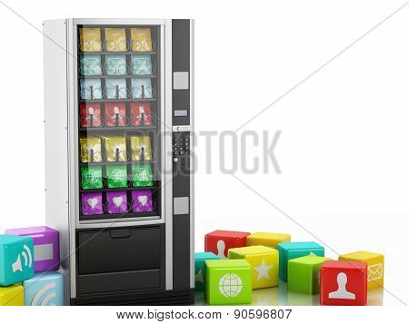 3D Vending Machine With App Icons.