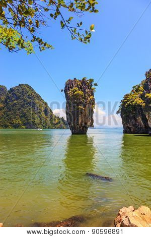 The tourist season in Thailand. The warm Andaman Sea and  quaint island. James Bond Island