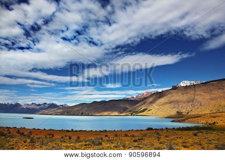 Lake in the high valley of the Patagonian Andes