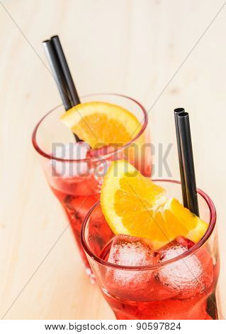 Close-up Of Glasses Of Spritz Aperitif Aperol Cocktail With Orange Slices And Ice Cubes