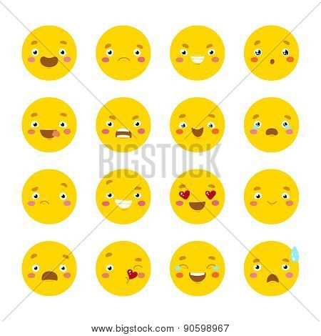 Set of smiley icons with different face.