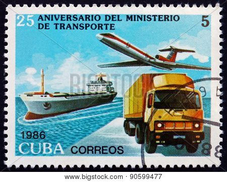 Postage Stamp Cuba 1986 Boat, Plane, Truck