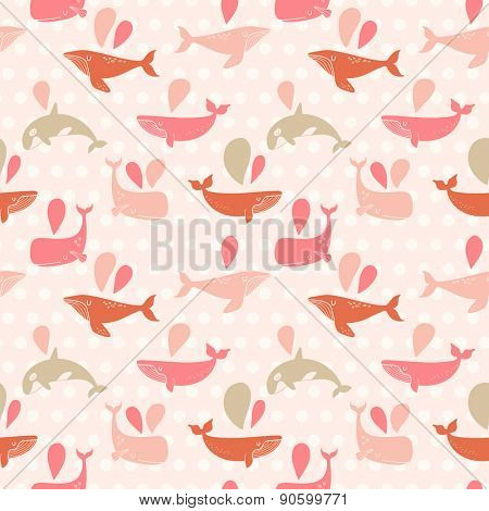 Stunning underwater concept seamless pattern in awesome pink colors. Lovely whales for modern designs in vector