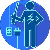 pic of lineman  - Electric blue stick figure of a man electrician with screwdriver and lightning flat symbolic round icon vector illustration - JPG