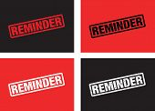 picture of reminder  - a set of four black and red reminder stamps - JPG