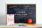 image of students classroom  - Blackboard in an English class - JPG