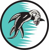 foto of serpent  - Illustration of a sea serpent swimming set inside circle done in retro woodcut style - JPG