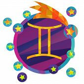 image of gemini  - papercut style zodiac icon set - JPG