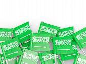 stock photo of saudi arabia  - Flag pin of saudi arabia isolated on white - JPG