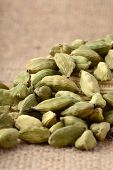 picture of cardamom  - close up of Green Cardamom pods on sack cloth - JPG