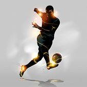 stock photo of shoot out  - Abstract soccer player quick shooting a ball - JPG