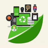 image of environment-friendly  - green recycle computer IT information technology computing environment friendly - JPG