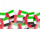 stock photo of emirates  - Flag pin of united arab emirates isolated on white - JPG
