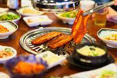 picture of korean  - Kimchi Korean cuisine barbecue grill meat and vegetables - JPG