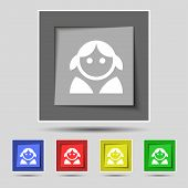 pic of female toilet  - Female Woman human Women toilet User Login icon sign on the original five colored buttons - JPG