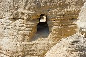 pic of scroll  - The scrolls cave of Qumran in Israel where the dead sea scrolls have been found - JPG