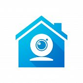 image of blue things  - Illustration of a blue house icon with a web cam - JPG