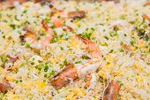 picture of cooked crab  - close up of fried rice with shrimp and sea crab meat - JPG