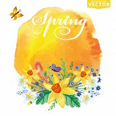image of stein  - Watercolor floral bouquet - JPG